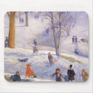 Vintage Christmas, Sledding, Central Park Glackens Mouse Pad