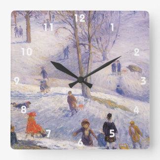 Vintage Christmas, Sledding, Central Park Glackens Square Wall Clock