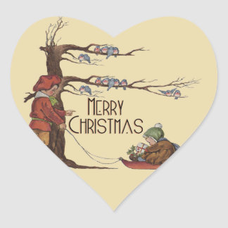 Vintage Christmas Sledding Heart Sticker