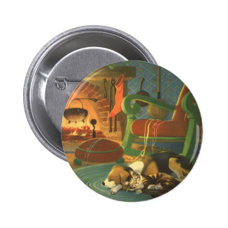 Vintage Christmas Sleeping Animals by Fireplace Button