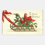 Vintage Christmas Sleigh greetings Rectangular Sticker