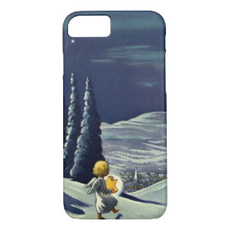 Vintage Christmas, Snow Angel Walking with a Star iPhone 8/7 Case