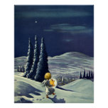 Vintage Christmas, Snow Angel Walking with a Star Poster