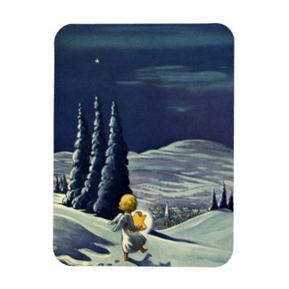 Vintage Christmas Snow Angel Walking with a Star Rectangular Photo Magnet