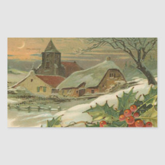 Vintage Christmas Snow Covered Town Sticker