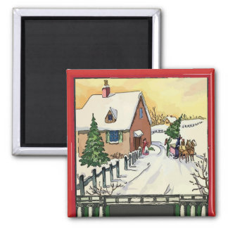 Vintage Christmas Snow Magnet