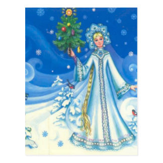 Vintage Christmas, Snow maiden Postcard