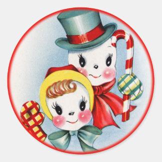 Vintage Christmas Snow People Sticker