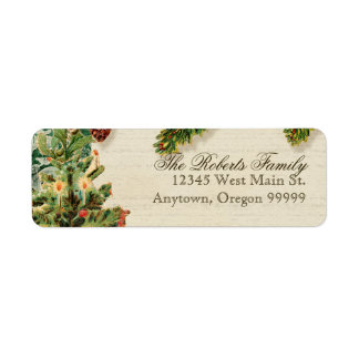 Vintage Christmas Snow Skating Custom Gift Tags Return Address Label