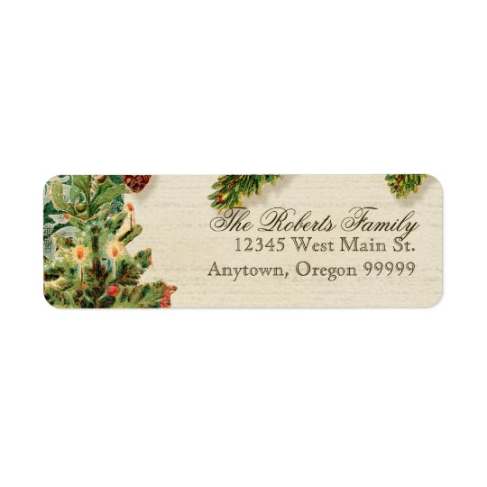 Vintage Christmas Snow Skating Custom Gift Tags Return Address Label