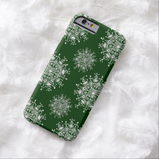 Vintage Christmas Snowflake Green Blizzard Pattern Barely There iPhone 6 Case