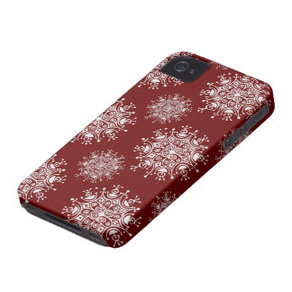 Vintage Christmas Snowflakes Red Blizzard Pattern iPhone 4 Case-Mate Cases