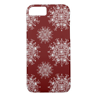 Vintage Christmas Snowflakes Red Blizzard Pattern iPhone 8/7 Case