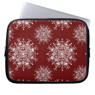 Vintage Christmas Snowflakes Red Blizzard Pattern Laptop Computer Sleeves