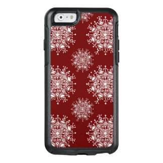 Vintage Christmas Snowflakes Red Blizzard Pattern OtterBox iPhone 6/6s Case