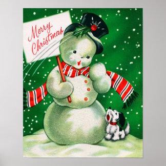 Vintage Christmas snowman and dog poster