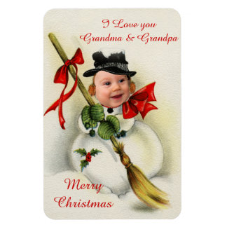 Vintage Christmas Snowman Custom Photo Magnet