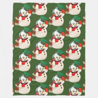 Vintage Christmas snowman Holiday blanket