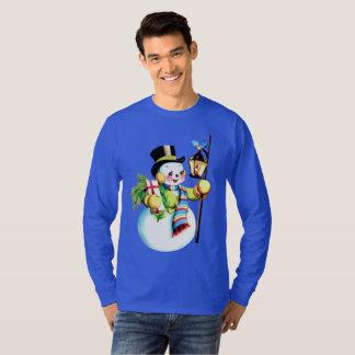 Vintage Christmas snowman Holiday mens t-shirt