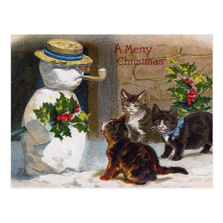 Vintage Christmas Snowman & Kittens Card
