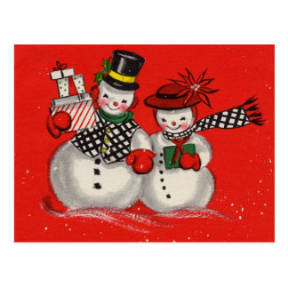 Vintage Christmas Snowman Postcard