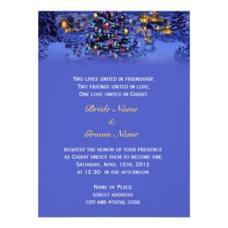 Vintage Christmas snowy night religion s wedding Custom Invitations