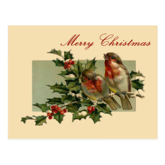 Vintage Christmas Songbirds and Holly Postcard