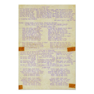 Vintage Christmas Songs Typewriter Holiday Words Poster