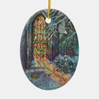 Vintage Christmas, Stained Glass Window in Church Ceramic Oval Ornament