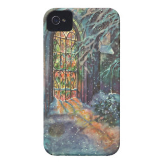 Vintage Christmas, Stained Glass Window in Church iPhone 4 Case-Mate Cases