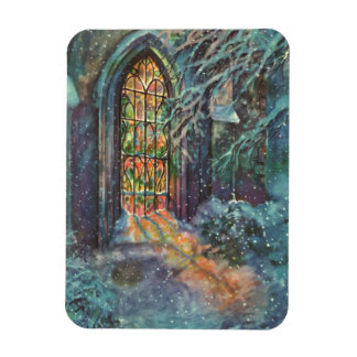 Vintage Christmas, Stained Glass Window in Church Rectangular Photo Magnet