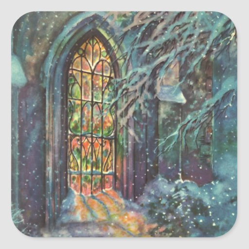 Vintage Christmas, Stained Glass Window in Church Square Stickers