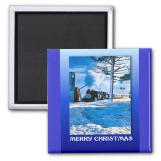 Vintage Christmas,  Steaming through the snow Square Magnet
