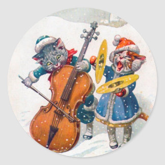 Vintage Christmas Sticker, Arthur Thiele Cats Classic Round Sticker