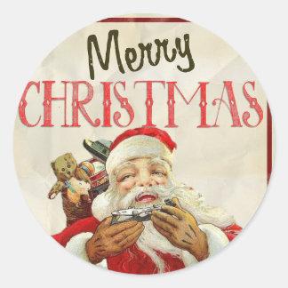 Vintage Christmas Stickers-Santa Claus Happy Classic Round Sticker