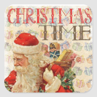 Vintage Christmas Stickers-Santa Claus With Gifts Square Sticker