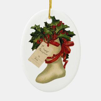 Vintage Christmas Stocking Ceramic Ornament