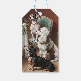 Vintage Christmas Tag, Dogs at Christmas Gift Tags