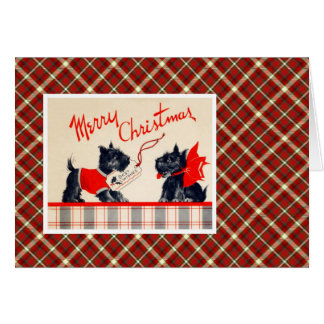 Vintage Christmas Terrier Dog Card