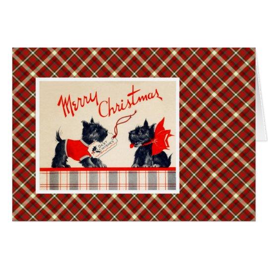 Vintage Christmas Terrier Dog Card