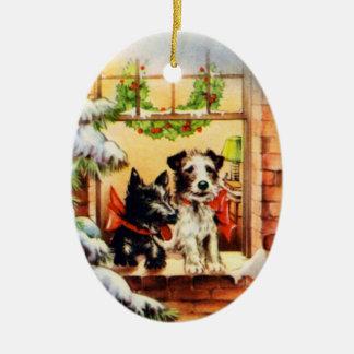 Vintage Christmas Terrier Dog Ceramic Ornament