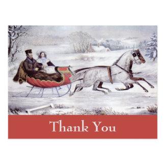 Vintage Christmas Thank You Postcard