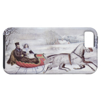Vintage Christmas, The Road Winter, Sleigh Horse iPhone 5 Covers