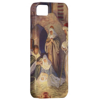 Vintage Christmas, Three Shepherds and Baby Jesus iPhone 5 Cover