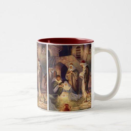 Vintage Christmas, Three Shepherds and Jesus Mugs