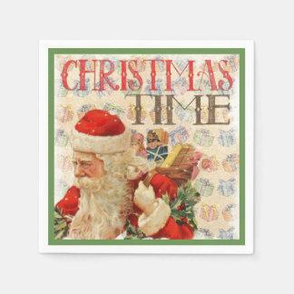 Vintage Christmas Time Santa Claus Napkin