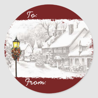 Vintage Christmas Town Gift Tag Stickers