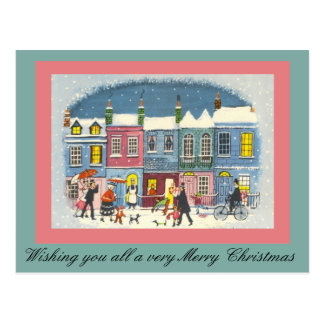 Vintage Christmas Town Scene in Pink and Green Postcard