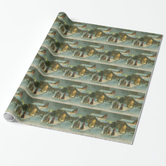 Vintage Christmas Town Wrapping Paper