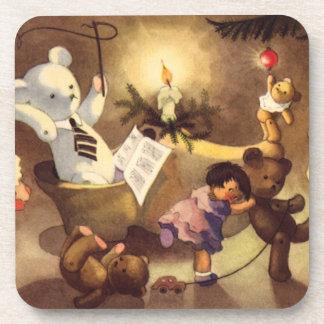 Vintage Christmas Toys, Dancing Dolls, Teddy Bears Coasters